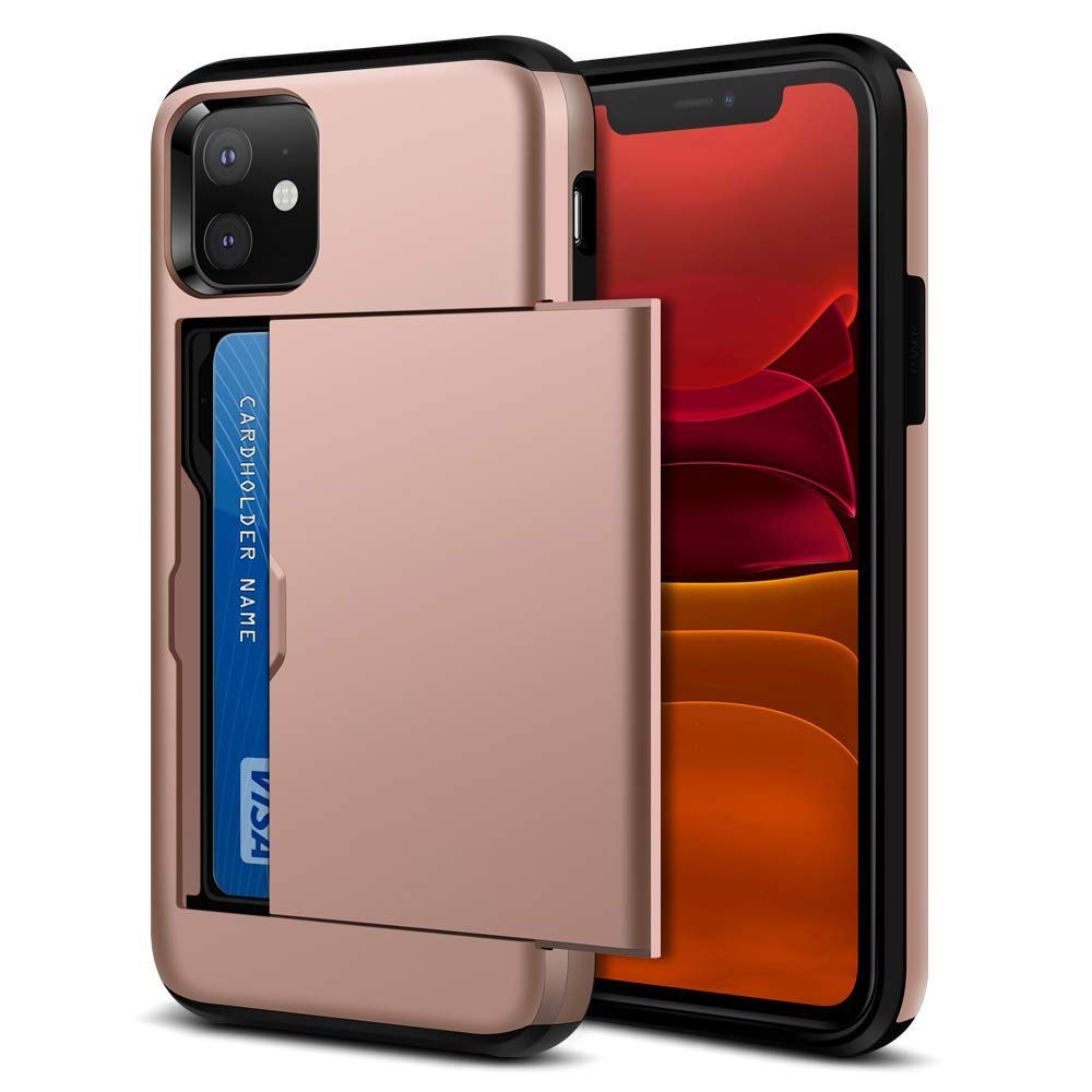 Jiunai iPhone 11 Case, iPhone 11 Wallet Cases Slim Card Holder Sliding Cover for Credit Card IDs Cash Dual Layer Shockproof Non Slip Anti Scratch Hard PC Case for iPhone 11 6.1 inches 2019 Rose Gold