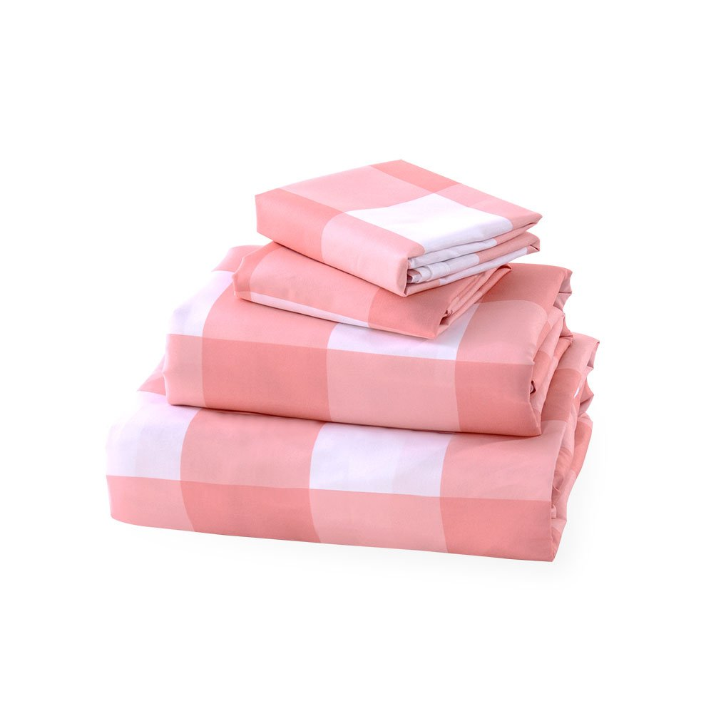 BASIC CHOICE Bed Sheet Set - Brushed Microfiber 2000 Bedding - Wrinkle, Fade, Stain Resistant - Hypoallergenic - 4 Piece (King, Gingham Pink)