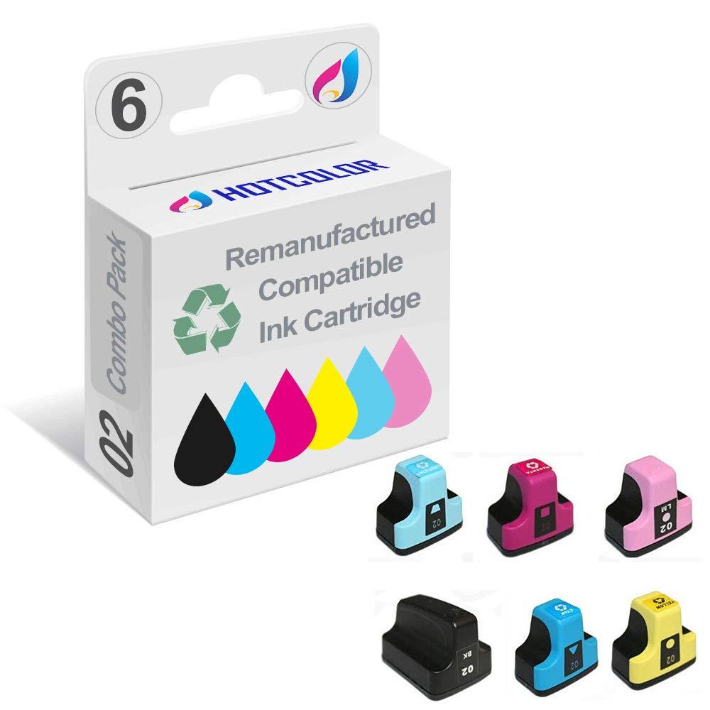 HOTCOLOR 02XL 02 Ink Cartridge for HP Photosmart 3108 3110 3210 3210-xi 3310 8230 8250 C5100 C5140 C5150 C5180 Printer (Black,Cyan,Magenta,Yellow,Light Cyan,Light Magenta, 6-Pack)