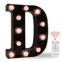 Black Marquee Letters with Lights, LED Light Up Letters Battery Operated Dimmable for Wall Decor, Wedding, Birthday Decorations -Black Letter D