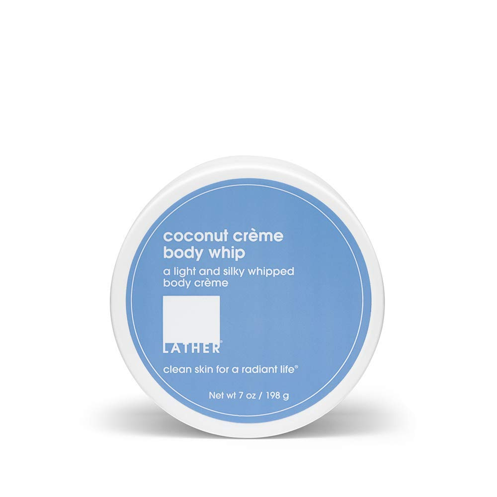LATHER Coconut Crème Body Whip, 7 Ounce - Light, Silky, Whipped Body Crème with Shea Butter and Aloe Vera