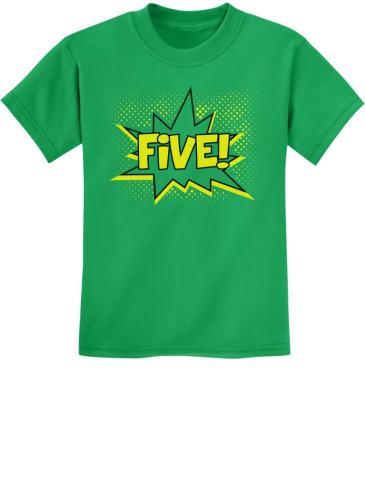 Five Superhero 5th Birthday Shirt 5 Year Old Gift Idea Kids T-Shirt