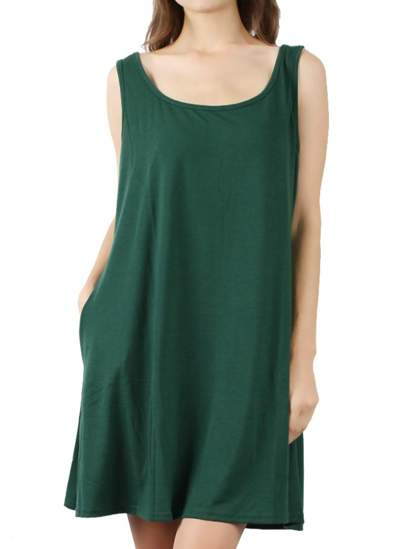 DD DEMOISELLE Loose Tunic T-Shirt Dress, Women's Dress, Summer Women Casual Sleeveless Dress Party Lace Loose Beach Dress Plus Size Dark Green XL