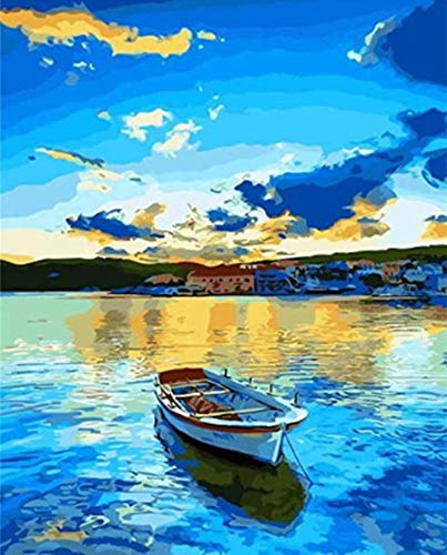 """7-Mi DIY Paint by Numbers, Canvas Oil Painting Kit for Kids & Adults, 16"""" W x 20"""" L Drawing Paintwork with Paintbrushes, Acrylic Pigment (Lakeside Boat)"""