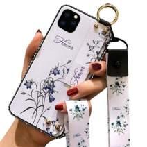 Aulzaju iPhone 11 Crossbody Lanyard Case, iPhone 11 Shiny Stylish Foldable Kickstand Case Soft TPU Flower Hybrid Cover for iPhone 11 with Wrist Strap(White)