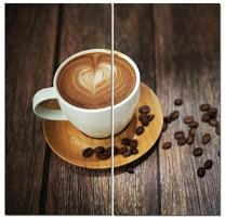 Canvas Wall Art Decor - 12x24 2 Piece Set (Total 24x24 inch) - Cafe Coffee Latte - Decorative & Modern Multi Panel Split Canvas Prints for Dining & Living Room, Kitchen, Bedroom, Office & Gifts