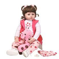 Nicery Reborn Baby Doll Soft Simulation Silicone Vinyl 22inch 55cm Magnetic Mouth Lifelike Vivid Boy Girl Toy Polka-dot Hat Pink Giraffe RD55C258