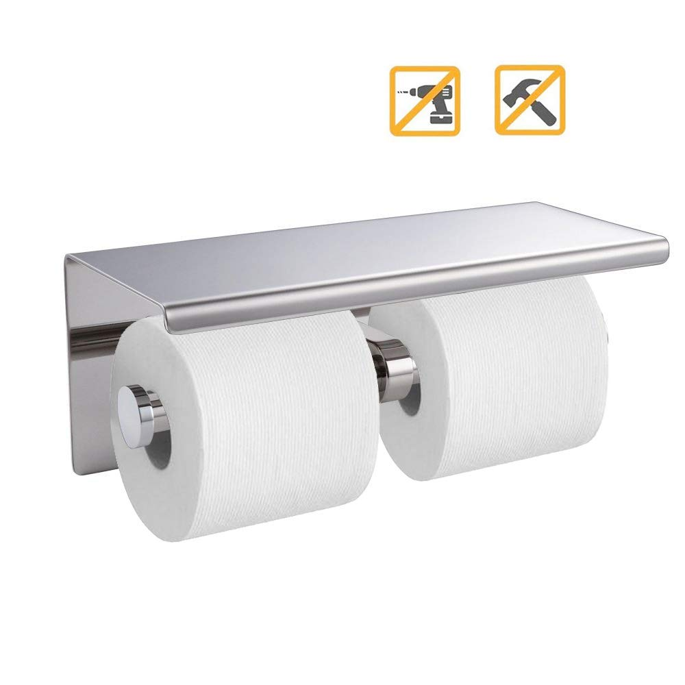 Songtec Toilet Paper Holder with Shelf, Easy Stick On with 3M Adhesive, Holds Mega Roll, No Drilling or Wall Mounted Stainless Steel Tissue Roll Holder (Polished Chrome (Dual))