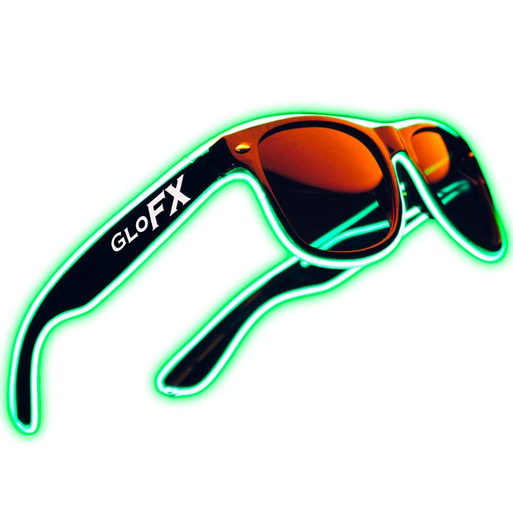 Light Up EL Wire Glasses - Green - LED Rave Party Sound Activated (Green)