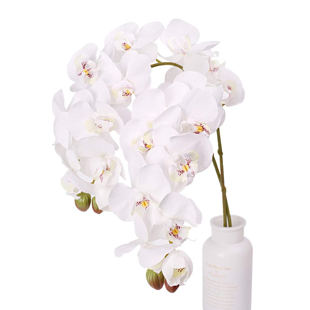 N&T NIETING Artificial Orchid Phalaenopsis Flower, 2PCS 29in Real Touch Simulation Orchid with Stem for Wedding, Flower Arrangement, Home Centerpiece Decor, Party Decorations (White-2)