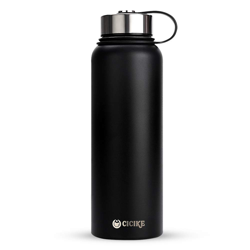 cicike Upgraded Wide Mouth Stainless Steel Water Bottle, Vacuum Insulated Portable Water Bottle with BPA Free Metal Lid, Double Walled, 40oz.(1200ml) Volume, Keeps Water Stay Cold 24 Hours and Hot 12