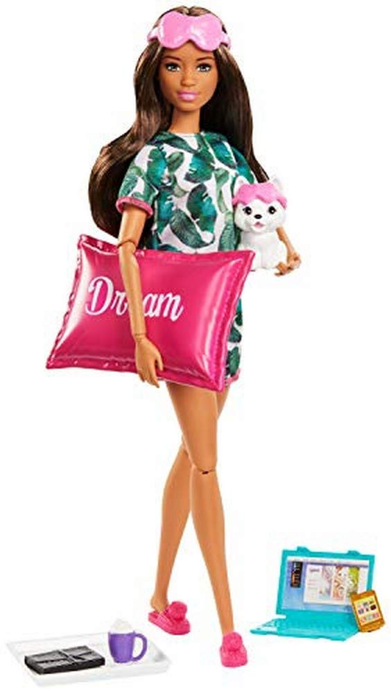 ​Barbie Relaxation Doll, Brunette, with Puppy and 8 Accessories, Including Pillow, Journal and Sleep Masks, Gift for Kids 3 to 7 Years Old