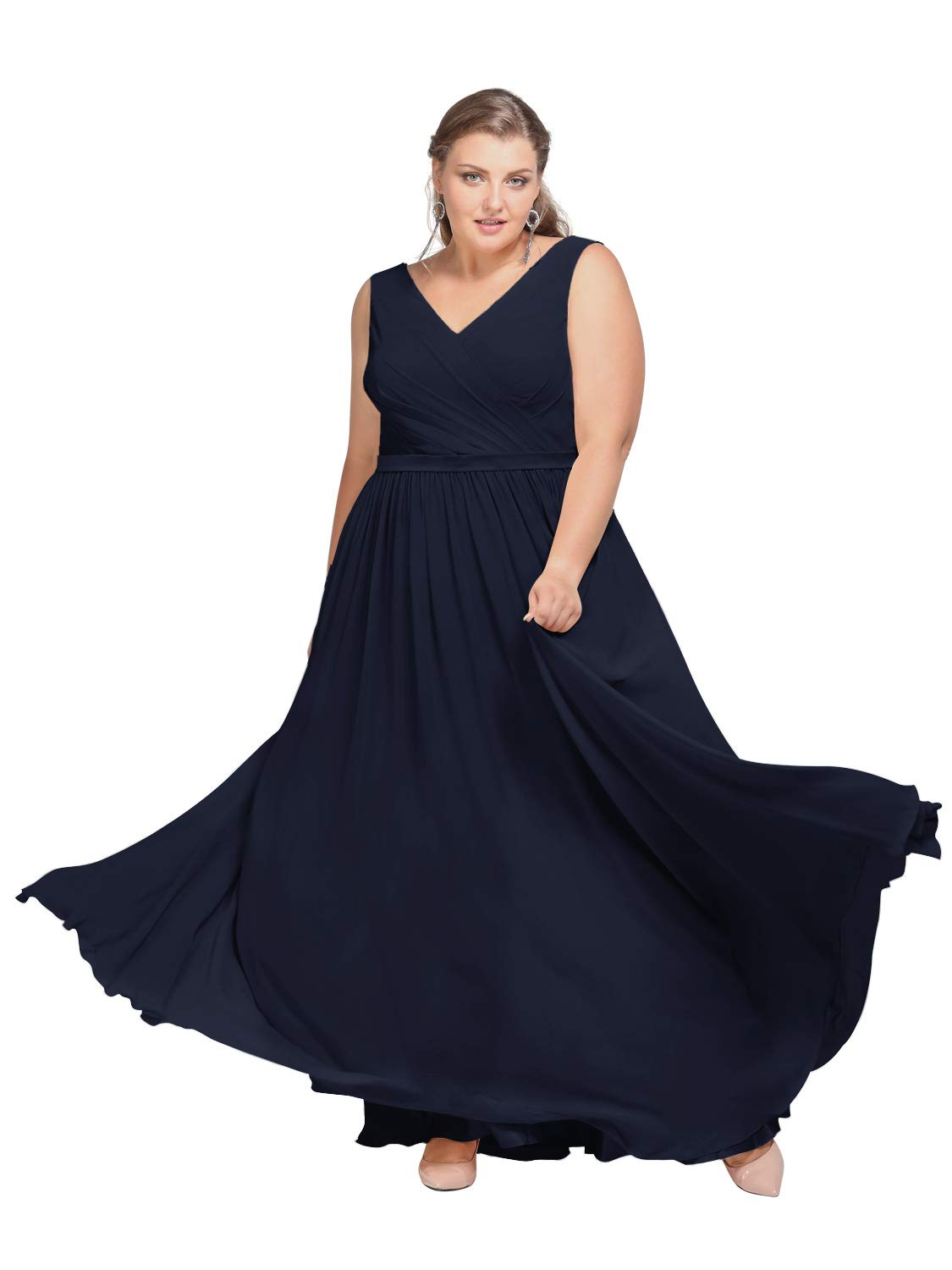 AW V-Neck Bridesmaid Dresses Long Formal Dresses for Women Maxi Evening Gowns, Dark Navy, US12