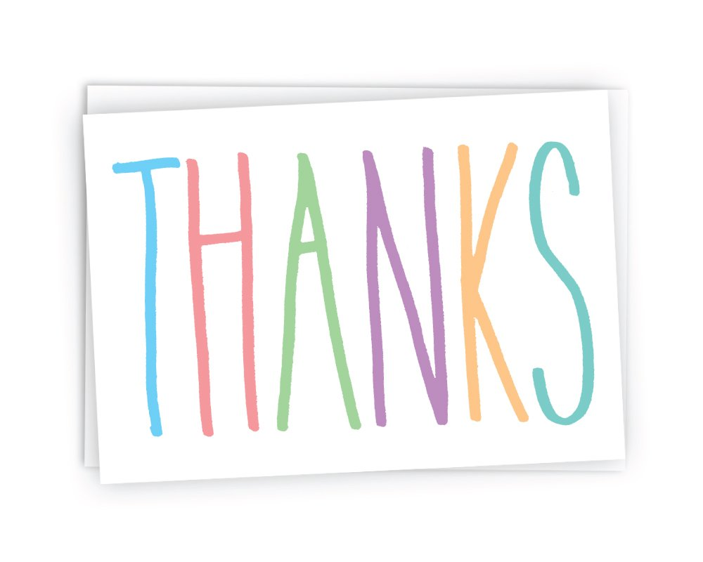 Colorful Thanks Note Cards - 48 Cards & Envelopes
