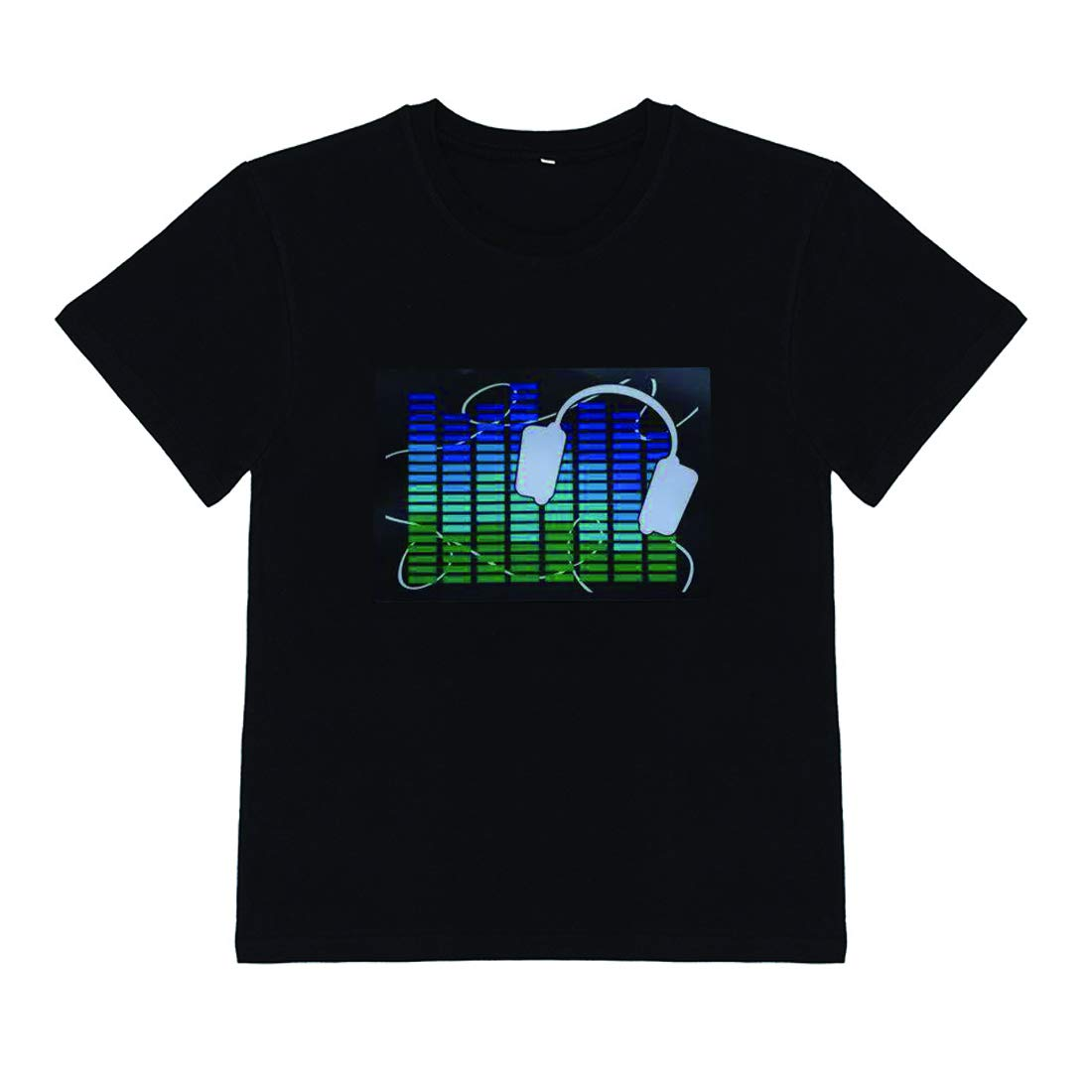 DINIRUKY Kids LED Flashing Shirt Sound Activated Black T Shirt Gift for Birthday Halloween Christmas Nightshow Wear