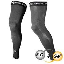 Vital Salveo - Bamboo Charcoal. Germanium Recovery Compression Outdoor Full Length Leg Knee Thigh Basketball Sleeves- Dark Grey(1 Pair)-S