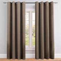 Vangao Room Darkening Curtain 95 inches Length Window Treatment Blackout Drape for Bedroom, Grommet Top, 52Wx95L-inch, 1 Panel, Brown