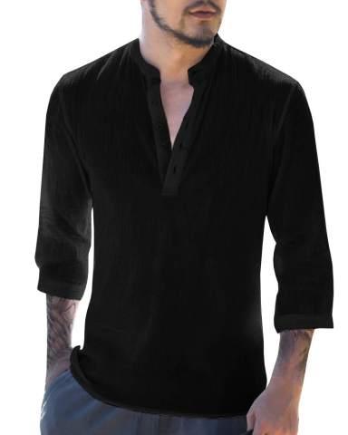 Mens Summer Plain Linen T-Shirts Loose Casual V-Neck Tops Beach 3//4 Sleeve Tees