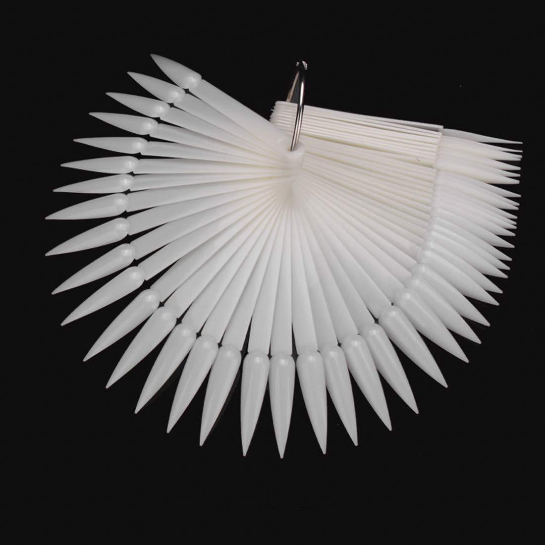 50pcs Stiletto False Nail Art Fan Wheel Practice Board Tip Sticks for Dipping Powder Colors UV Gel Nail Polish Display Chart, HJ-NT069-Natural