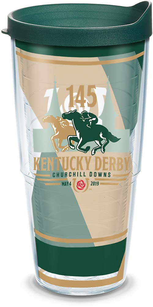 Tervis 1313343 Kentucky Derby 145 2019 Insulated Tumbler with Wrap and Lid, 24 oz - Tritan, Clear