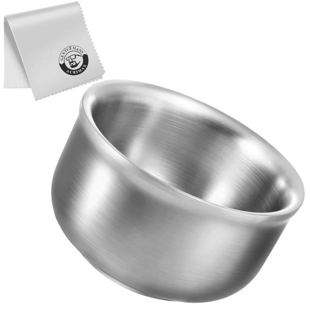 ACRIMAX Deluxe Shaving Soap Bowl with Cleaning Cloth, Double Layers Stainless Steel 4.1 Inches Large Shave Bowl, Keep Lather Warm & Heat Insulation, Durable Metal Cream Cup Mug for Men Wet Shave