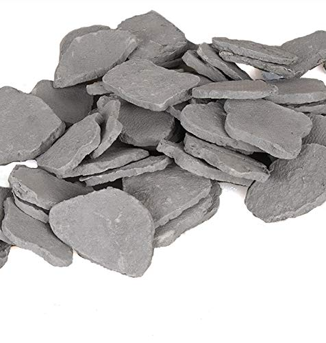 Enhance A Fire! Premium Decorative Slate Chip Embers for Gas Fireplaces & Gas Logs - Pewter Grey (7 Cups)