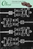 Cybrtrayd Life of the Party K040 Robot Lolly Chocolate Candy Mold in Sealed Protective Poly Bag Imprinted with Copyrighted Cybrtrayd Molding Instructions