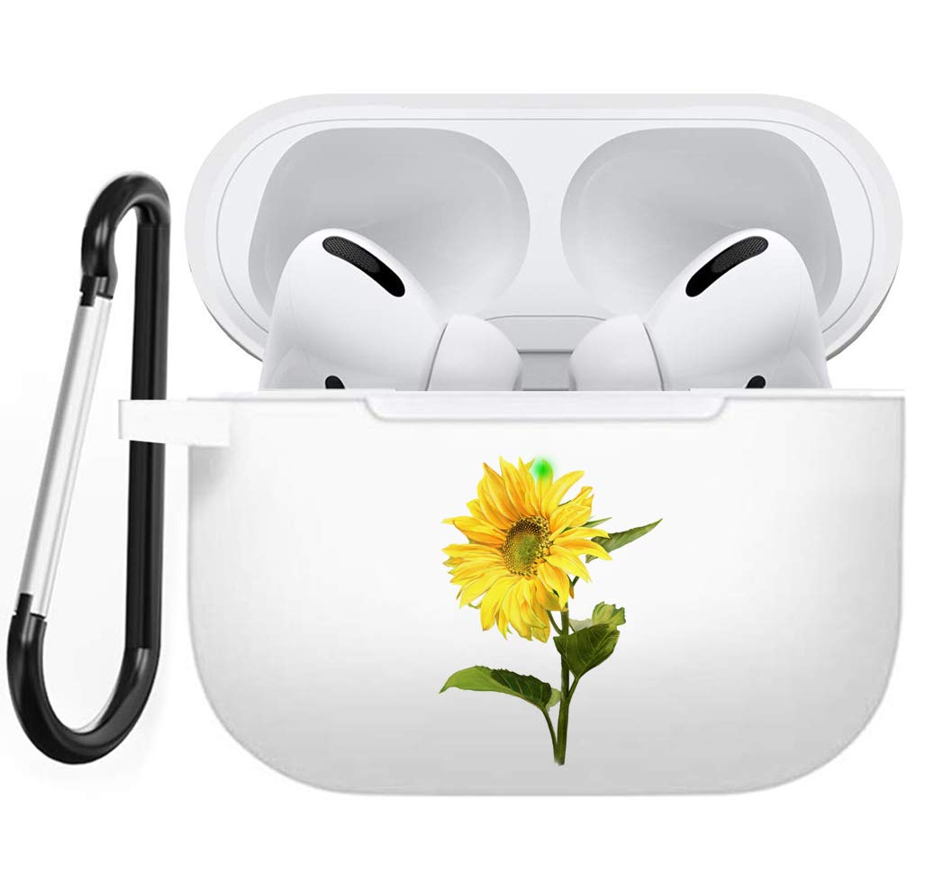 Holder Case with Keychain for Air Pods Pro, Cisland Cute Silicone Cover Compatible with Airpods Pro Sunflower