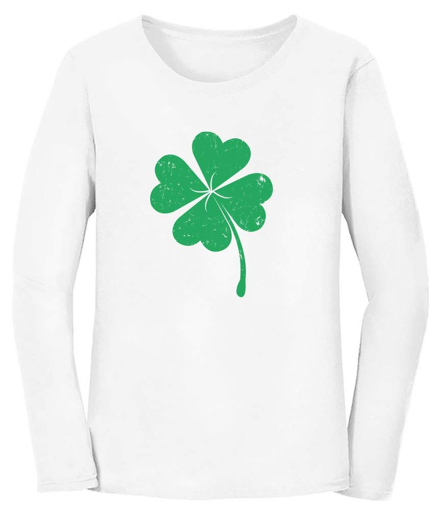 Four Leaf Clover Saint Patrick's Day Irish Shamrock Women Long Sleeve T-Shirt Medium White