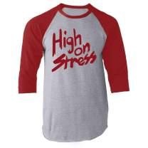 High On Stress Retro 80s Funny Halloween Costume Raglan Baseball Tee Shirt