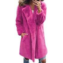 Ularma Women's Fuzzy Fleece Lapel Open Front Long Cardigan Coat Faux Fur Warm Winter Outwear Jackets with Pockets