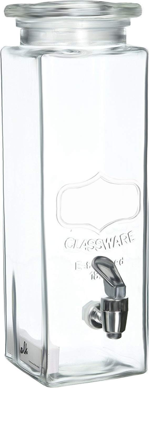 Circleware Tall Square Mason Jar Glass Beverage Dispenser with Lid, Fun Party Entertainment Kitchen Glassware Water Pitcher for, Juice, Beer, Punch, Iced Tea & Cold Drinks, 2.5 Quarts, Yorkshire
