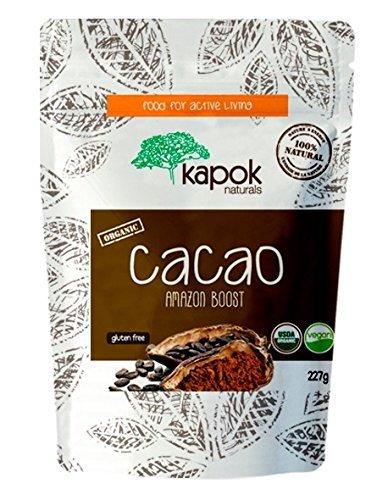 Kapok Naturals Cacao Powder NEW Raw Organic Cacao Powder. Enjoy Rich Dark Chocolate Coco Powder Flavor from Natural and Organic Cacao from Peru. USDA Organic, ISO & GMP Certified