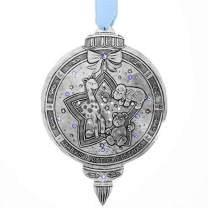 """Wendell August Baby's First Christmas Ornament (Boy) - Hand-Hammered Aluminum Hanging Ornament with Baby Animals and Blue Crystals - Made in USA Tree Decoration, 5"""" x 3"""""""