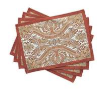 Maison d' Hermine Kashmir Paisley 100% Cotton Set of 4 Placemats for Dining Table | Kitchen | Wedding | Everyday Use | Thanksgiving/Christmas | Dinner Parties (13 Inch by 19 Inch)