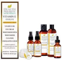 Natural & Organic Vitamin E Skincare System. Vitamin E Oil (unscented), Facial Cleanser, Exfoliating Scrub, Daytime Moisturizer with SPF 30, Nighttime Moisturizer, Eye Cream. Fades wrinkles, dark spot