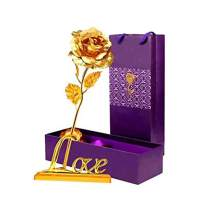 LOMIRO Girlfriend Gifts 24K Gold Foil Rose Flower with Love BaseGifts for Her,Momon Valentine's Day,Mother's Day,Christmas,Thanksgiving,Anniversary,Birthday,Special Days (Gold)