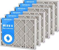 SpiroPure 31.5x37.5x2 MERV 8 Pleated Filter Air Filters - Made in USA (6 Pack)