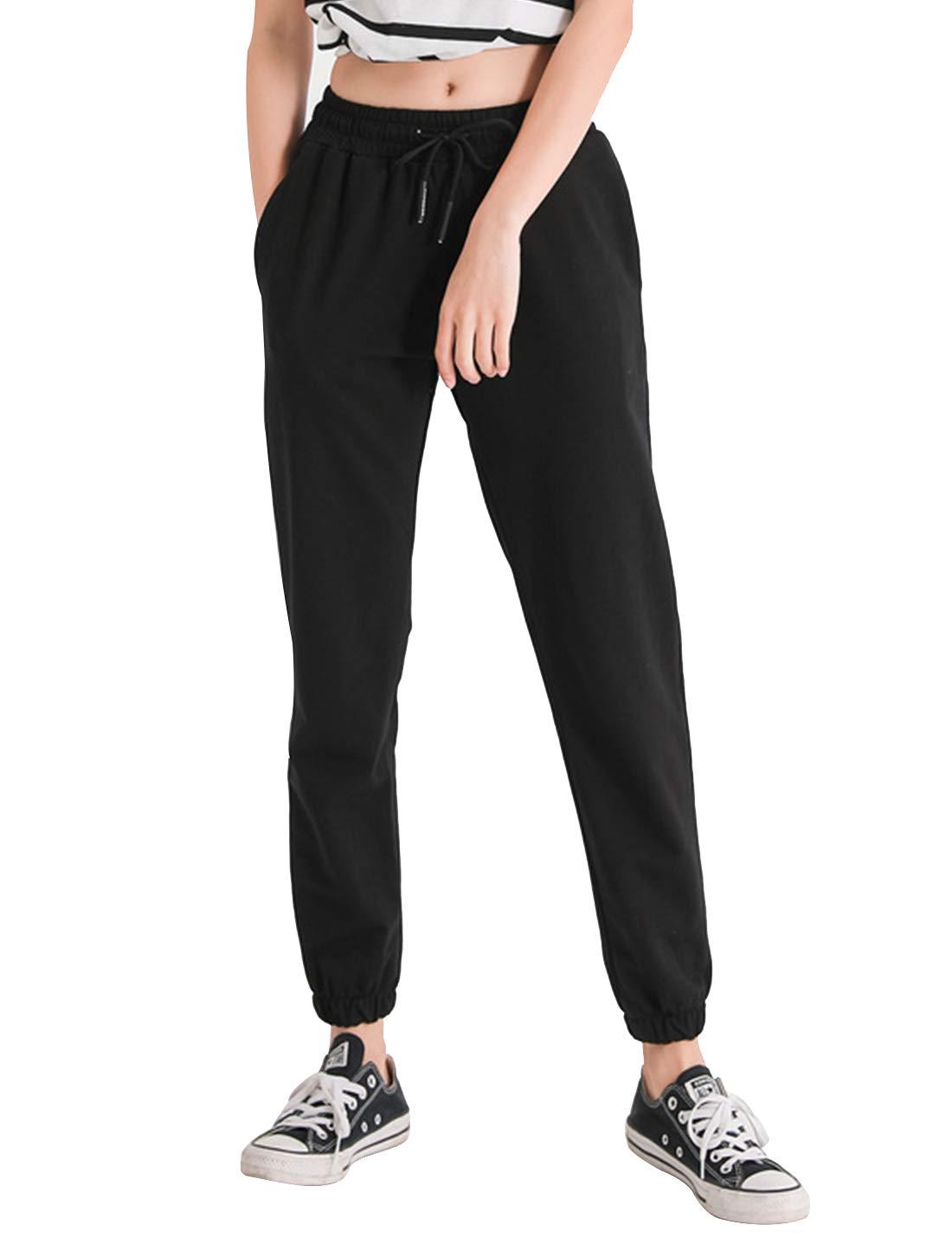 Yimoon Women's Casual Elastic Waist Drawstring Jogger Pants Harem Sweatpants