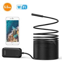 DEPSTECH Wireless Endoscope, 5.5mm Ultra-Thin HD Inspection Camera, 16 inch Focal Distance, Snake Cable 720P WiFi Borescope for iOS & Android Smart Phone Tablets-16.4ft