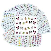 New8Beauty Nail Art Stickers Decals (50-Pack) - DIY Water Transfer Manicure Nails Stickers for Women Girls Kids - Nail Spa Party Favors