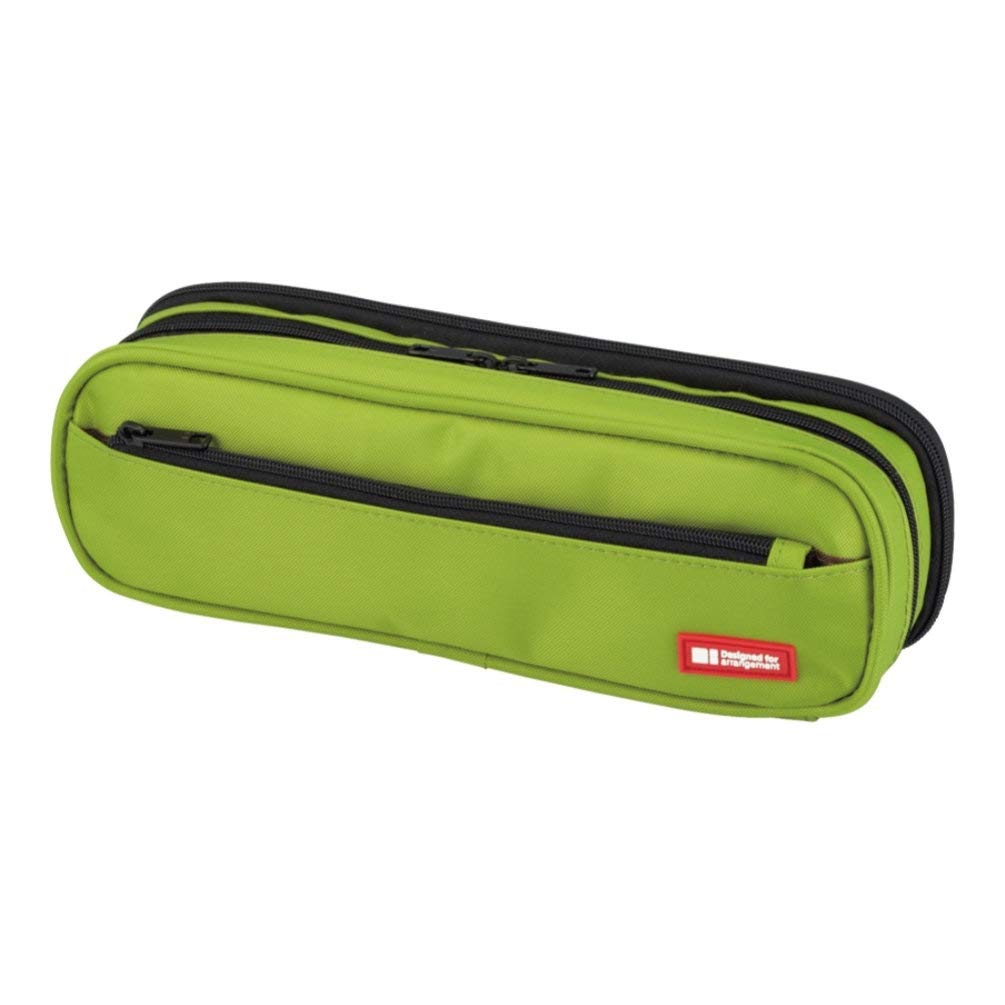 LIHIT LAB. Double Zipper Pen Case, 9.4 x 2.4 x 3 inches, Yellow Green (A7557-6)