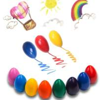 Dmeixs Crayons for Toddlers Palm Grip Crayons for Kids 9 Colors Washable Crayons Non Toxic Paint Crayons Egg Sticks Stackable Toys for Baby,Children Boys and Girls