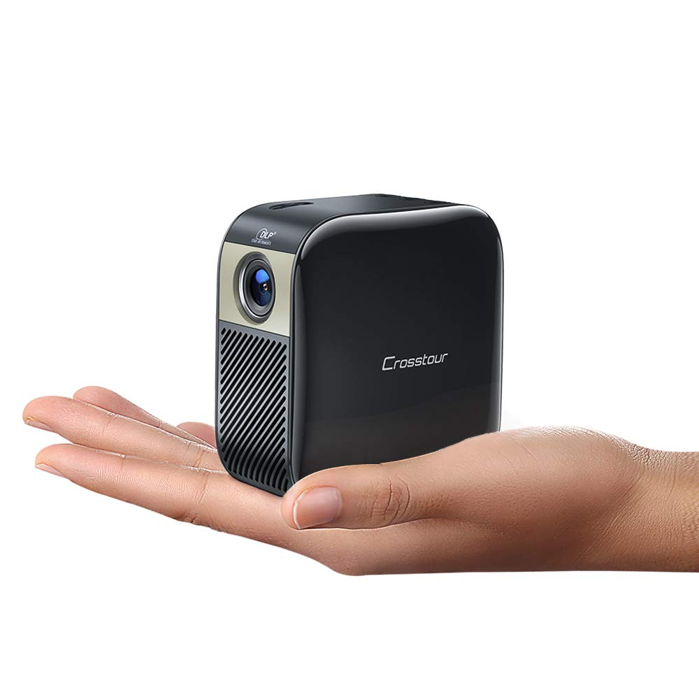Crosstour Mini Projector Portable DLP Pocket Projector Full HD 1080p Supported HDMI Proyector Compatible with iPhone/Android/TV Stick/TV Box/Tablet