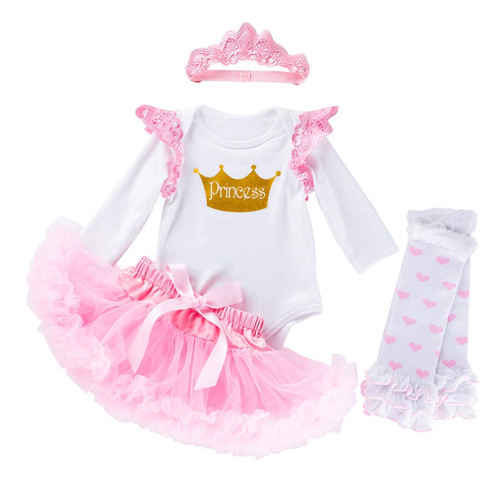 My 1st Valentines Day Baby Girls' Newborn Romper Tutu Outfit Princess Party Dress 4Pcs Clothes Set