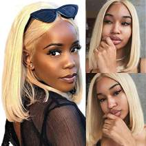 HCDIVA Blonde 613 Bob Wig Brazilian Straight Lace Front Wig Blonde Human Hair Wigs For Black Women Natural Hairline with Baby Hair Middle Part