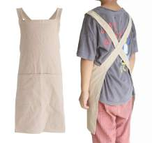 Children Cotton Cross Back Apron Japanese Style Bib Home Clothes Painting Soft Comfort Pinafore Apron for Girls Boys
