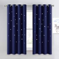 NICETOWN Children Blue Blackout Curtain - Hollow Star Space Inspired Night Sky Twinkle Star Curtain, Creative Blackout Window Drape for Bedroom (1 Panel, 52 x 63 inches Panel, Navy Blue)