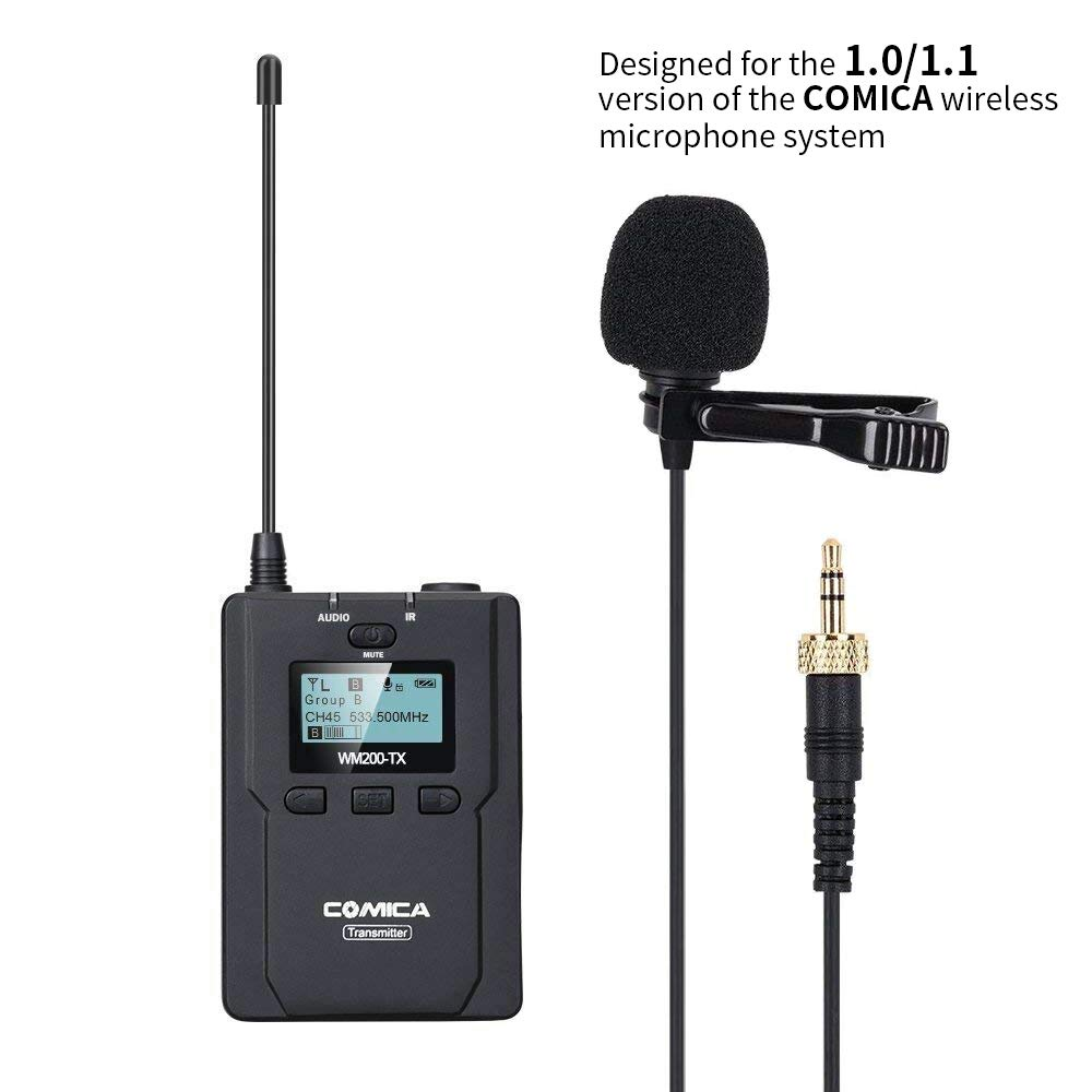 Comica UHF 96-Channel Zinc Alloy Single Chargable Wireless lavalier Transmitter for WM200 Microphone System Connect XLR Camcorder Camera & Smartphone (Version 1.0/1.1 of Receiver Available)