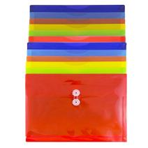 JAM PAPER Plastic Envelopes with Button & String Tie Closure - Letter Booklet - 9 3/4 x 13 - Assorted Primary Colors - 12/Pack